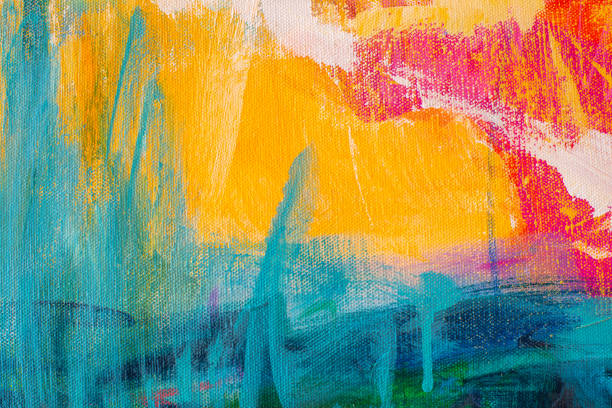 abstract hand-painted art background on canvas - tempera painting stock pictures, royalty-free photos & images