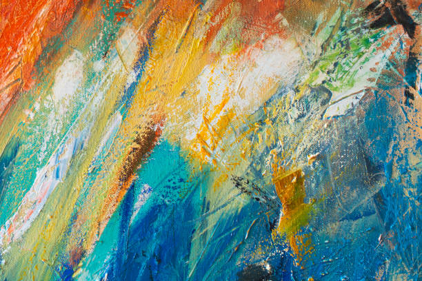 Abstract Hand-painted Art Background on Canvas stock photo