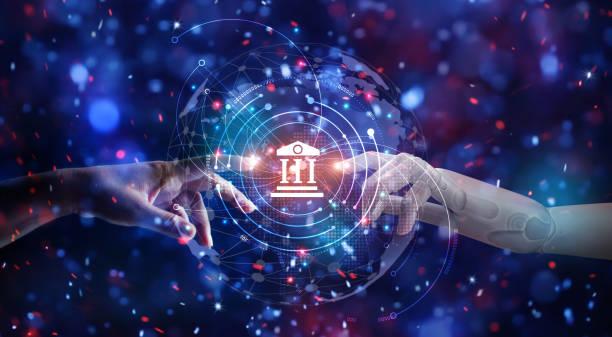 抽象。ロボットと人間の手に触れるグローバル仮想ネットワーク接続の将来のインターフェイス。機械学習。金融と投資。オンラインバン。人工知能技術コンセプト - 金融と経済 ストックフォトと画像