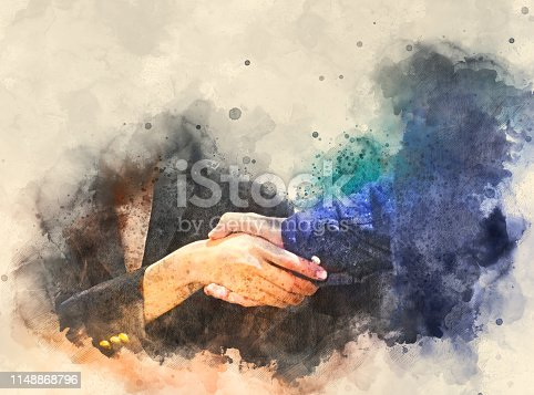 istock Abstract handshake business concept on watercolor illustration painting background. 1148868796