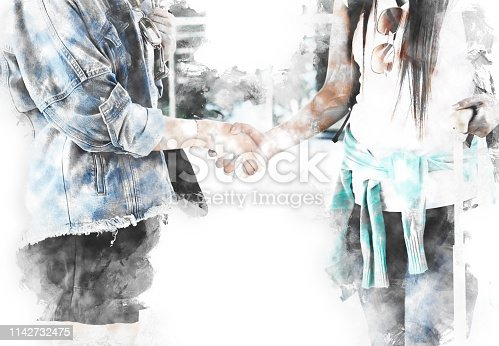 istock Abstract handshake on watercolor illustration painting background. 1142732475