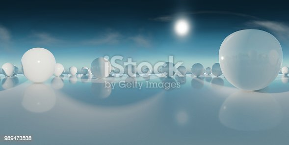 istock abstract HDRI environment map, spherical panorama background, light source rendering with blue sky (3d equirectangular rendering) 989473538