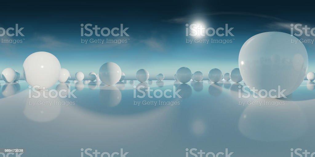 Résumé de carte d'environnement HDRI, fond de photographie panoramique, clair rendu source avec un ciel bleu (rendu 3d d'équirectangulaire) - Photo