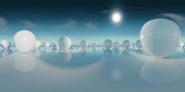 abstract HDRI environment map, spherical panorama background, light source rendering with blue sky (3d equirectangular rendering) 360 degree lighting backdrop texture 360 degree view stock pictures, royalty-free photos & images