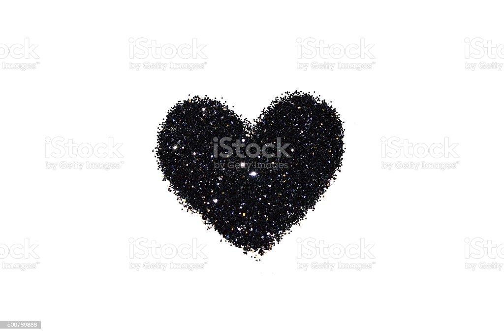 Astratto Cuore Di Nero Glitter Su Sfondo Bianco Luminoso