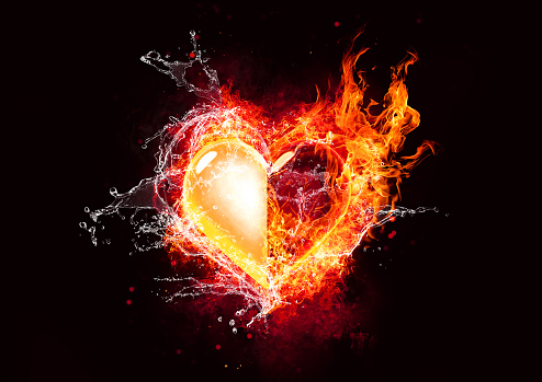 istock Abstract heart with flame and water combined 1192229247