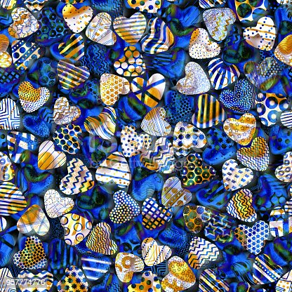 886746424istockphoto Abstract hearts background made of multiple heart shapes in shades of gold and blue - seamless handmade texture 957774776