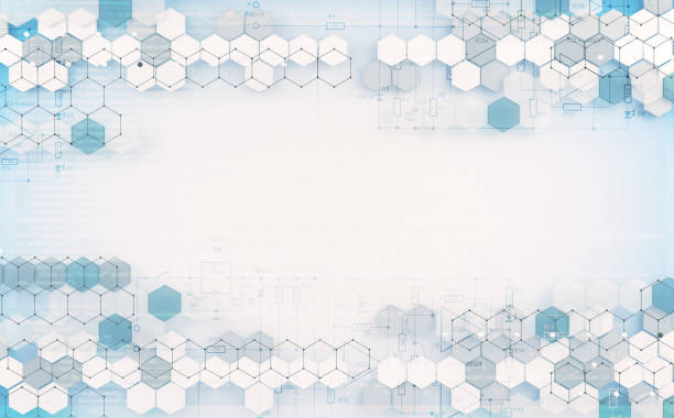 Abstract hexagon and data  background stock photo