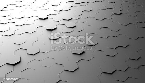 477312602 istock photo Abstract hexagon background 1136805901