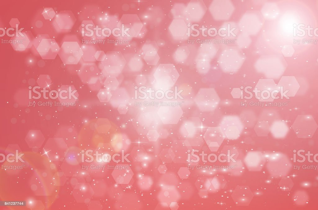 Abstract Hexagon bokeh background on red color background, Network...