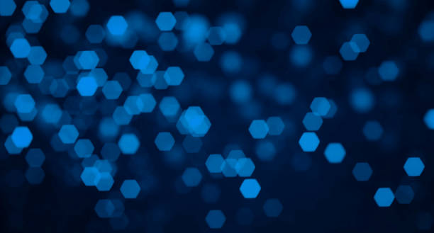 abstract hexagon defocused lights background - dark blue stock pictures, royalty-free photos & images