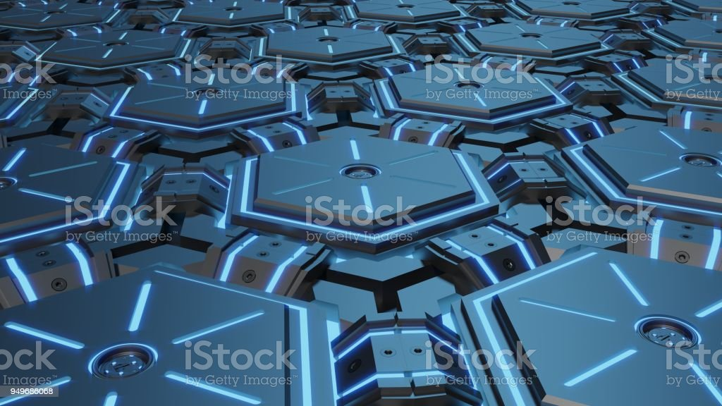 abstract hexagon glowing background stock photo
