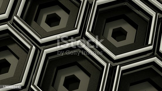 687269072 istock photo 3D Abstract Hexagon, Honeycomb Layered Pattern Background 1263693440