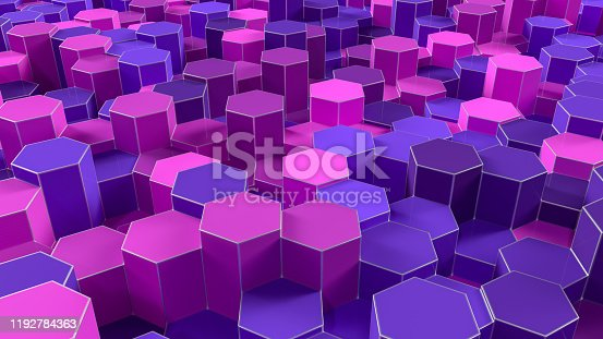 1003112132 istock photo 3D Abstract Hexagon, Honeycomb Pattern Background 1192784363
