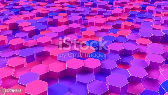 1003112132 istock photo 3D Abstract Hexagon, Honeycomb Pattern Background 1192784548