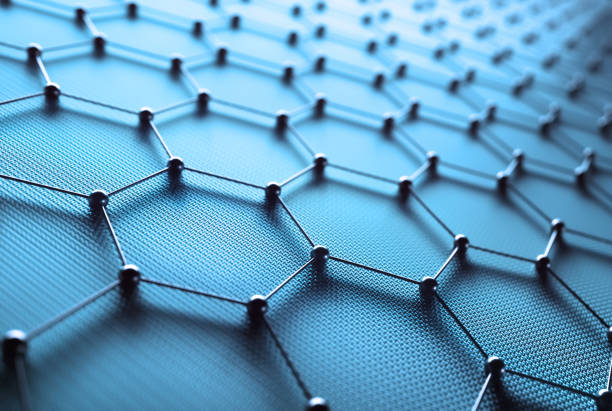 abstract hexagonal atomic connection science technology - graphene stock photos and pictures