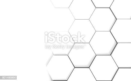 istock Abstract hexagonal futuristic white surface 921493850