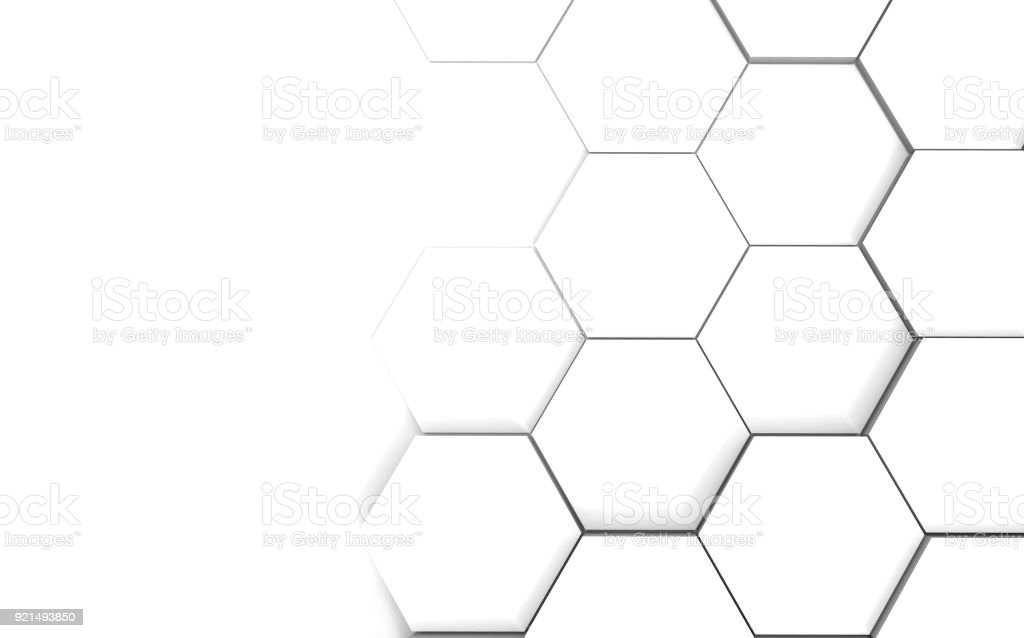 Abstract hexagonal futuristic white surface stock photo