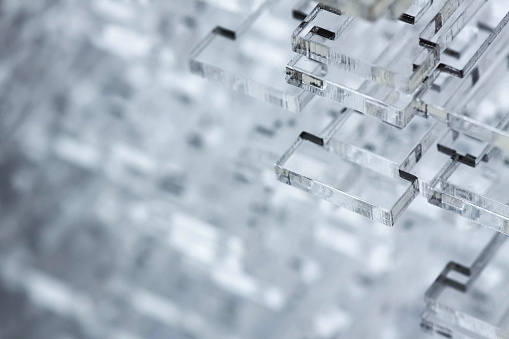 istock Abstract high-tech background. Details of transparent plastic or glass. Laser cutting of plexiglass 877153208