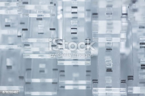 istock Abstract high-tech background. Details of transparent plastic or glass. Laser cutting of plexiglass 878255462