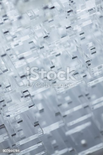 istock Abstract high-tech background. Details of transparent plastic or glass. Laser cutting of plexiglass 902944784