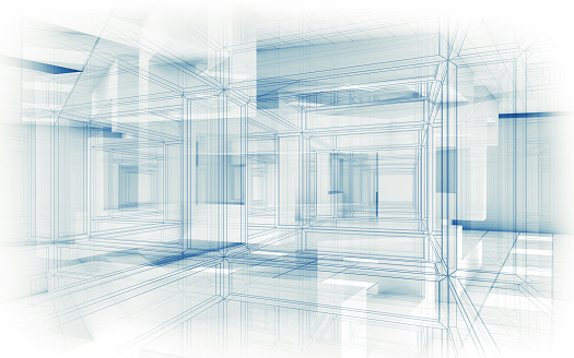 Abstract hi-tech background. White interior with chaotic cubic geometric constructions and wire frame lines, 3d render illustration