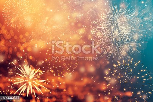istock Abstract holiday background with fireworks 620000374