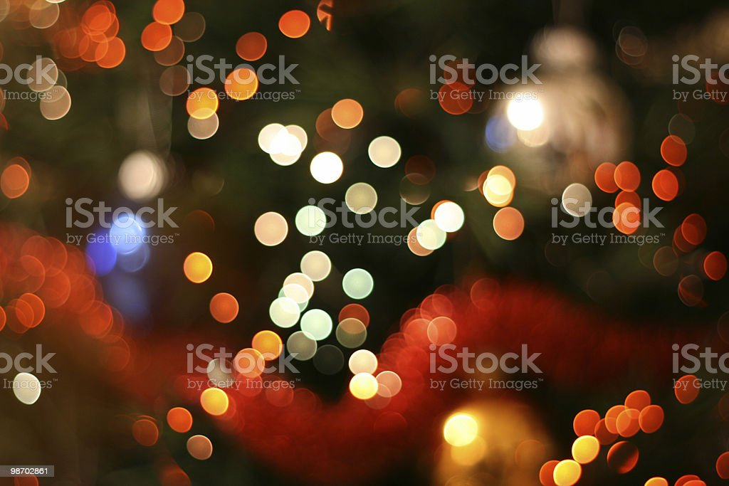 Abstract holiday lights background in bokeh royalty-free stock photo