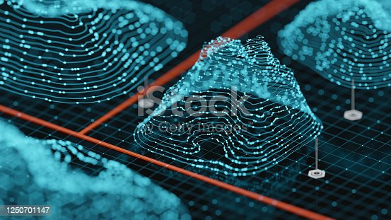 Abstract Hologram Landscape background - 3d rendered image of topology structure map.  Polygonal wireframe design element.