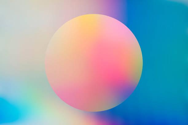 abstrait holographique avec cercle - fond multicolore photos et images de collection