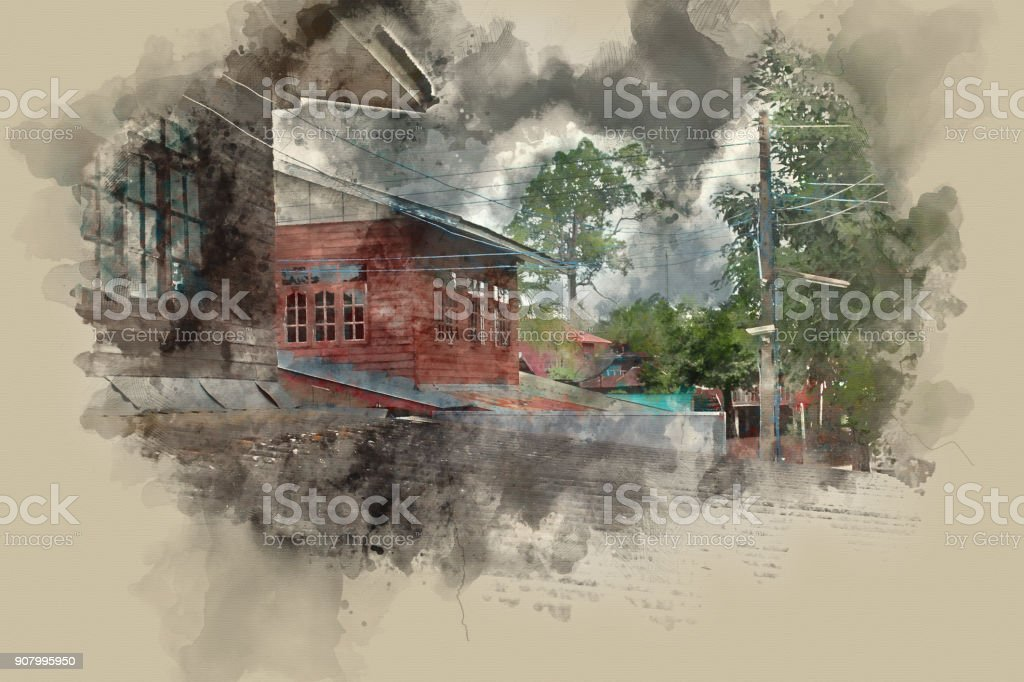 Abstract home building on watercolor painting background. City on Digital illustration brush to art. stock photo