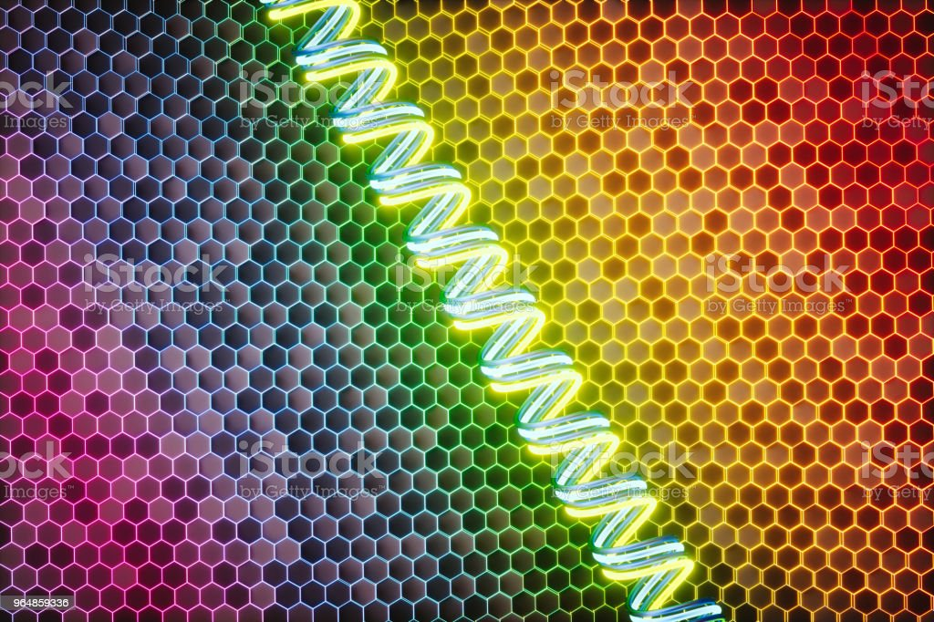 Abstract honeycomb structure with glowing edges and a spiral coil royalty-free stock photo