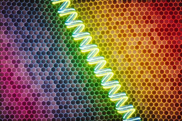 Abstract honeycomb structure with glowing edges and a spiral coil This image represents abstract art, design or science fiction technology. augmented reality sustainable stock pictures, royalty-free photos & images
