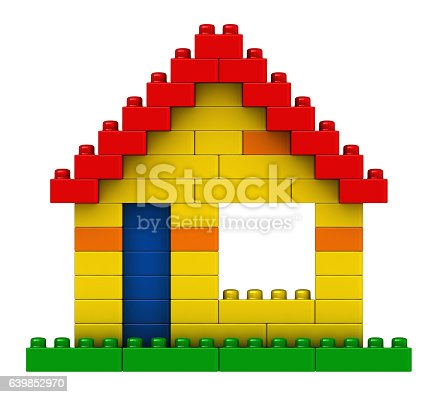 Abstract House From Plastic Building Blocks Stock Photo