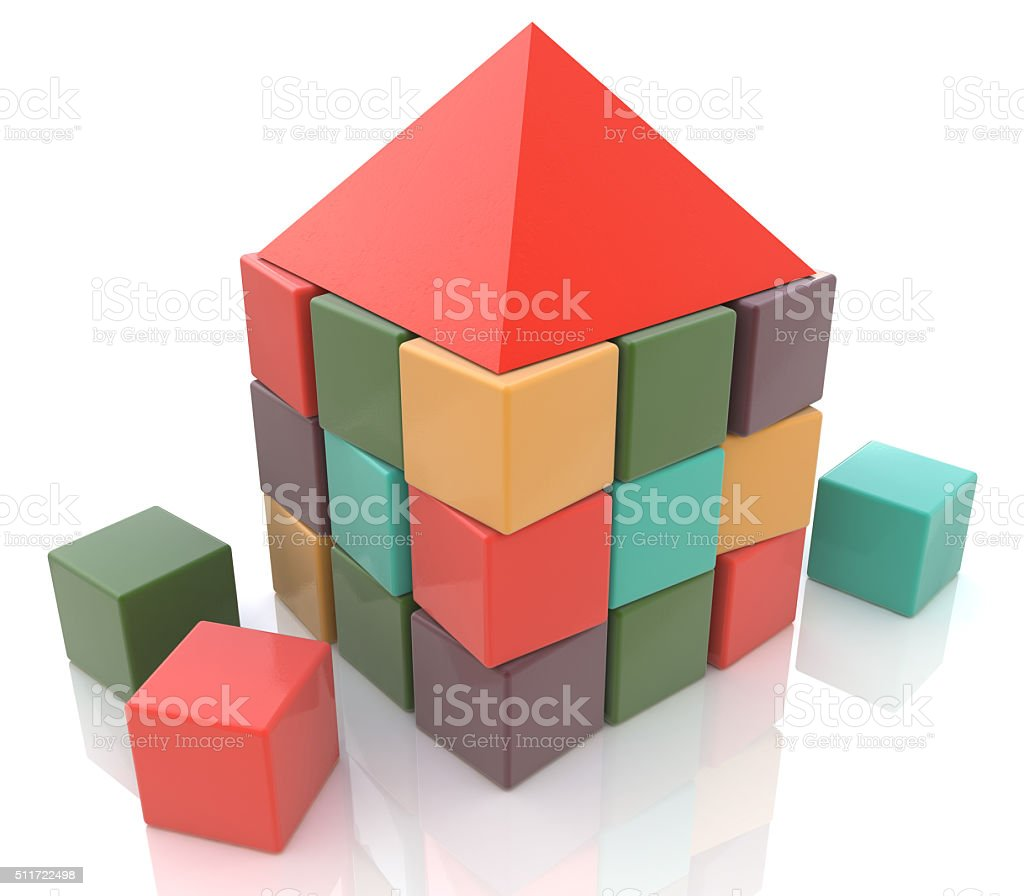 Abstract house made of children blocks 3d stock photo