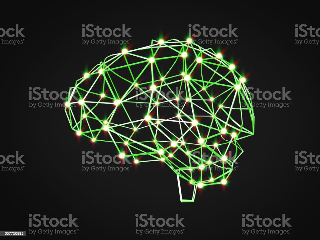 Abstract human brain from dots and lines.Polygonal brain design.3D rendering stock photo