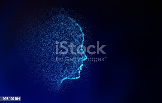 istock Abstract human shape. Virtual Model on blue, artificial intelligence in futuristic technology concept, 3d illustration 956499494