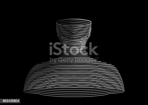 istock Abstract human wire shape. Model on black, artificial intelligence in futuristic technology concept, 3d illustration 953435604
