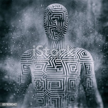 istock Abstract humanoid shape, cyborg, avatar 537638042