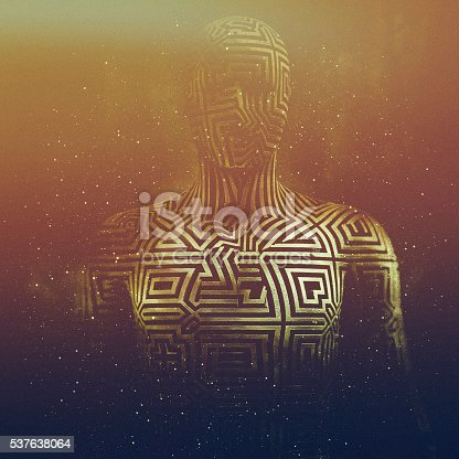 istock Abstract humanoid shape, cyborg, avatar 537638064