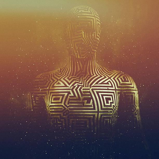 abstrakte humanoid form, cyborg, avatar - männliche körperkunst stock-fotos und bilder