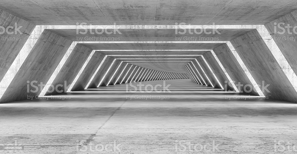 Abstract illuminated empty bent corridor interior stock photo