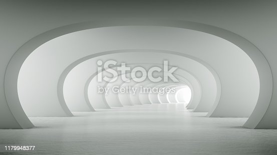 Abstract illuminated empty white bent corridor with round arches, bright light and shadows. Concept for interior design and futuristic background 3D rendering. Clean indoor architectural illustration