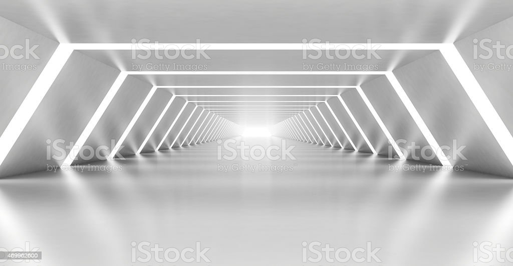 Abstract illuminated empty white corridor interior stock photo