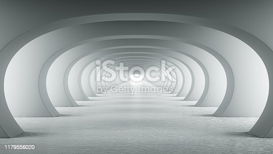 Abstract illuminated empty white corridor with round arches, bright light and shadows. Concept for art, interior design and futuristic background 3D rendering. Clean indoor architectural illustration