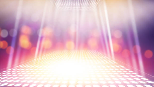 abstract illuminated light stage with colorful bokeh background abstract illuminated light stage with colorful bokeh background ramp stock pictures, royalty-free photos & images