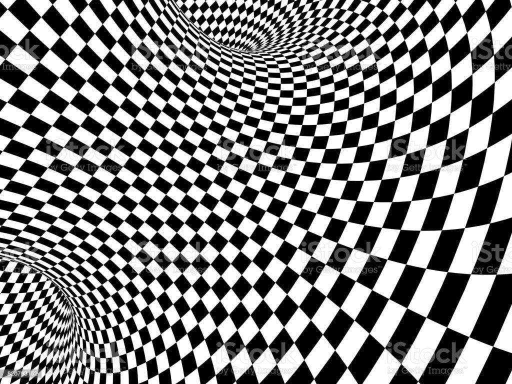 Abstract illusion. Black and white stock photo