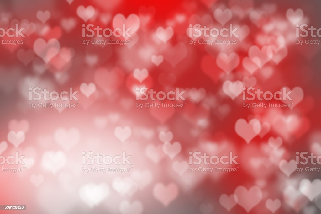 Abstract illustration heart bokeh light on red background stock photo