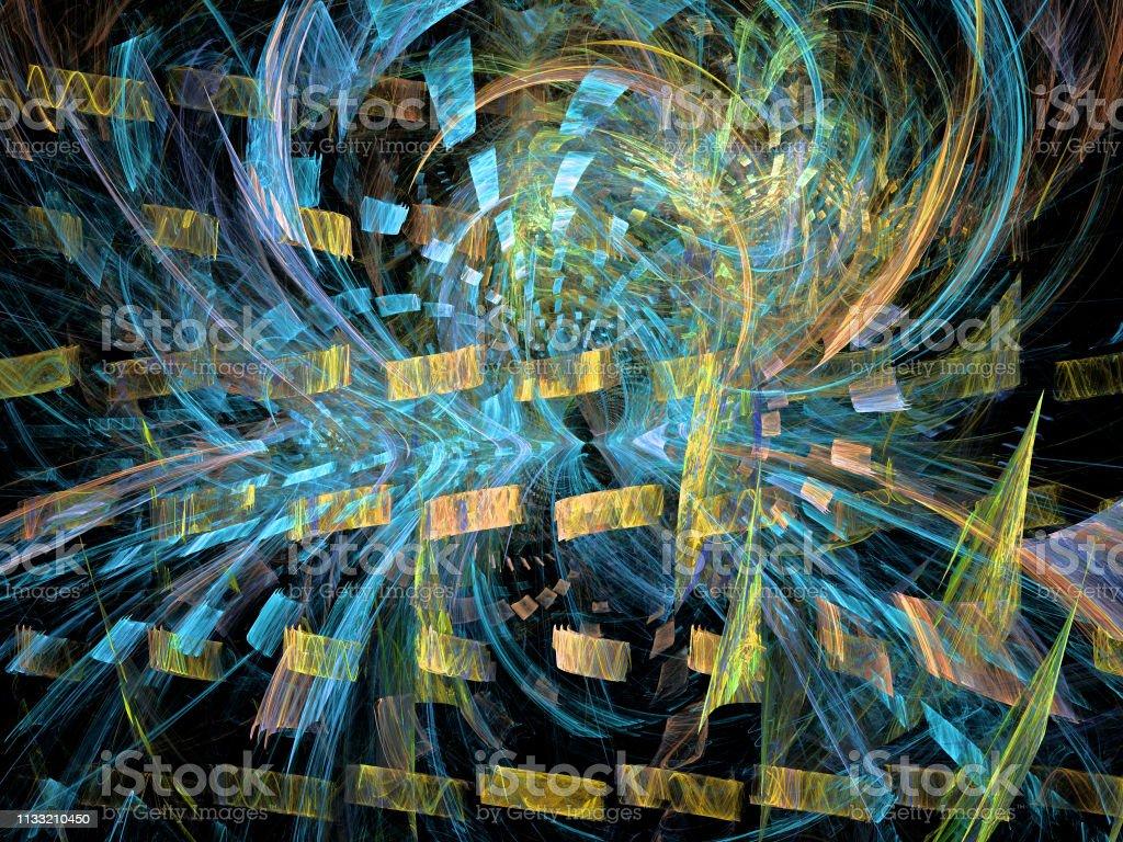 Abstrakte Darstellung eines fraktalen Musters auf schwarzem Hintergrund – Foto