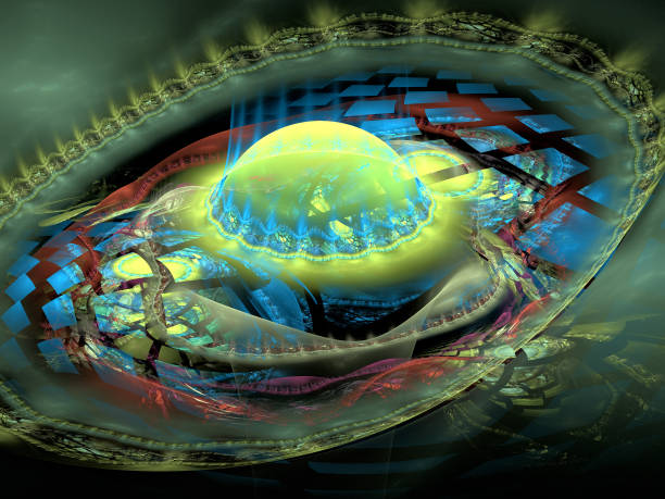 Abstrakte Illustration eines Fraktalmusters auf schwarzem Hintergrund – Foto